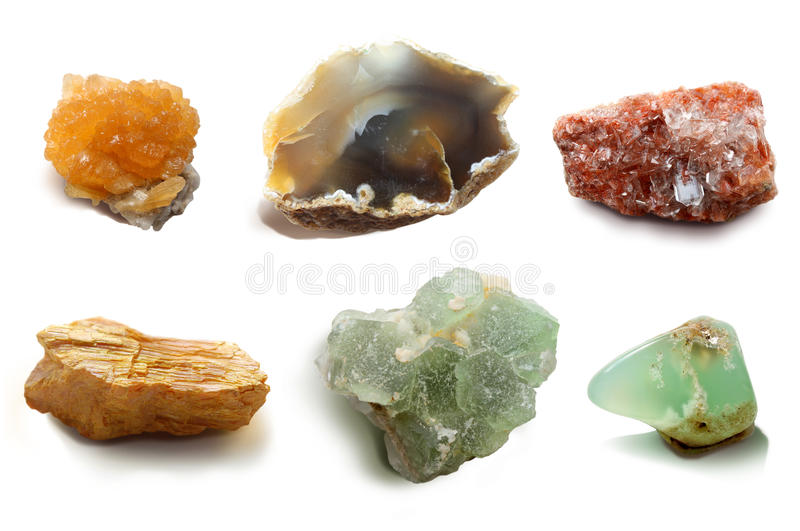 Assorted collection of mineral. Ð¡ollection semiprecious, ornamental stones and rocks stock photos
