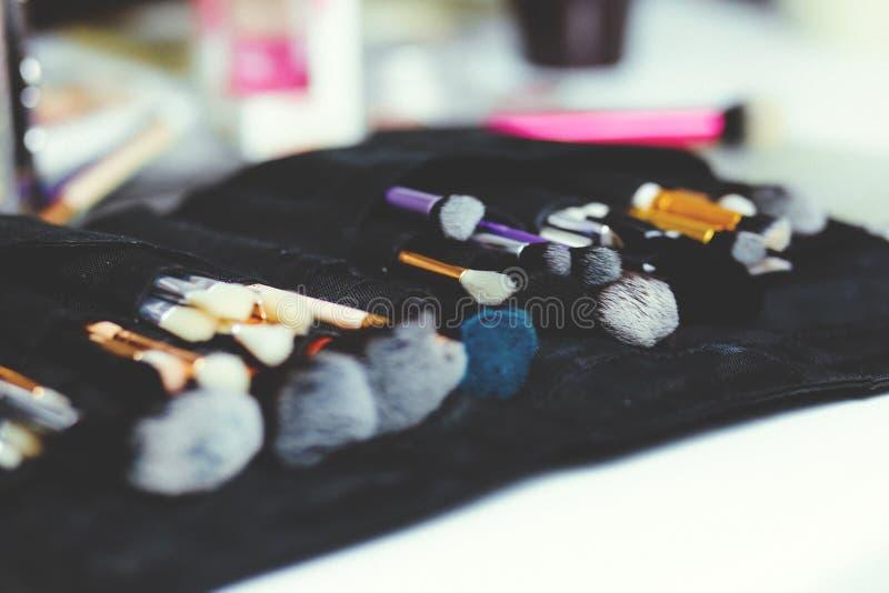 Assorted-color Makeup Brush Set on Black Organizer stock photography