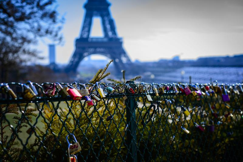 Assorted-color Padlocks Near Eiffel Tower in Paris France royalty free stock image