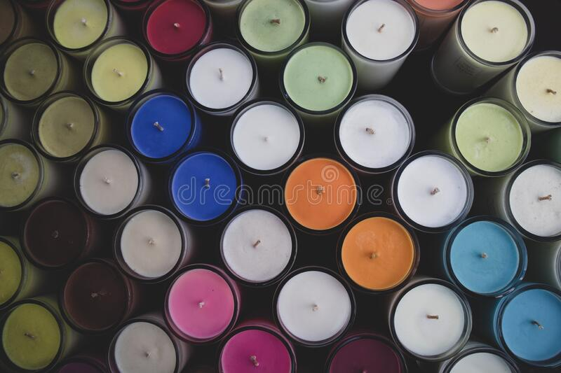 Assorted colorful candles at a market in Los Angeles - overhead. Assorted colorful candles at a boutique market in Los Angeles royalty free stock photo
