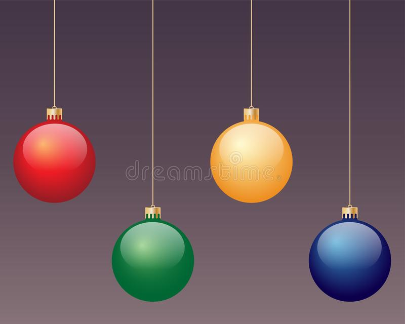 Assorted coloured baubles. Four hanging Christmas baubles in red, green, yellow and blue, all isolated on a background vector illustration