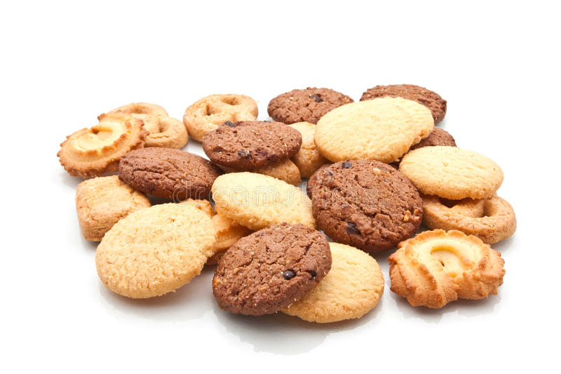 Assorted cookie on white. Studio shot stock photography