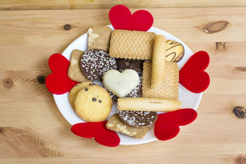Cookies for Saint Valentine`s Day royalty free stock photography