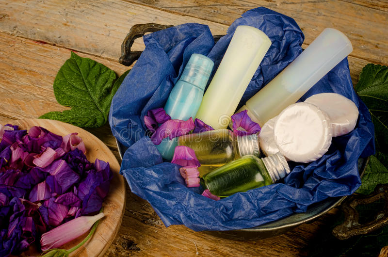 Assorted cosmetics. Assorted natural cosmetics in a basket stock image