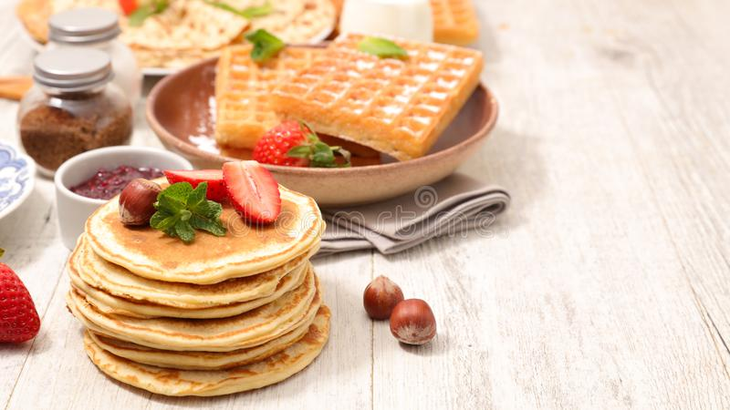 Crepe and waffles royalty free stock photography