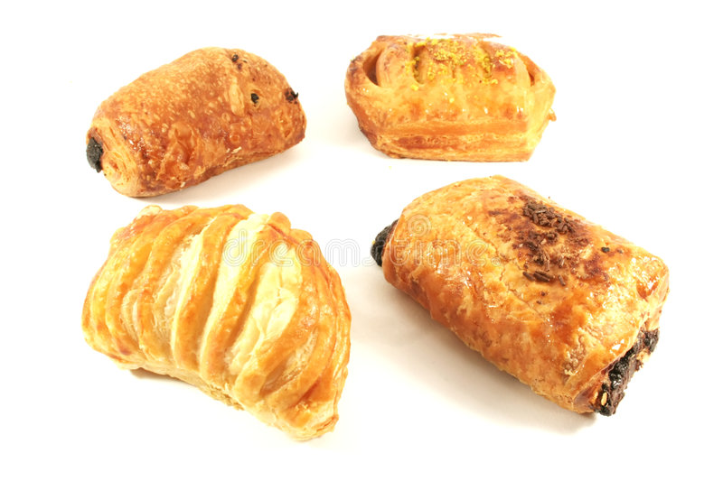 Assorted Danish Pastries. Isolated on a White Background royalty free stock image
