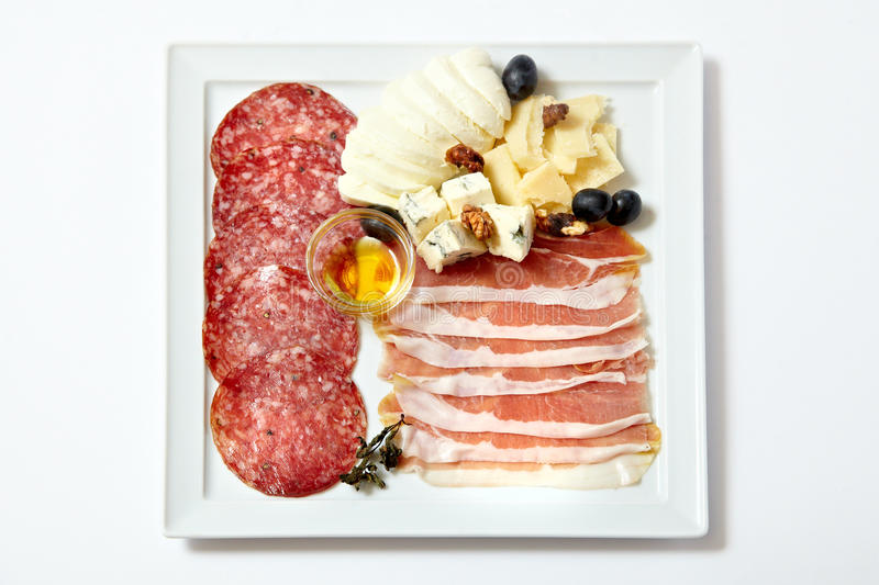 Assorted deli meats and cheese royalty free stock photography