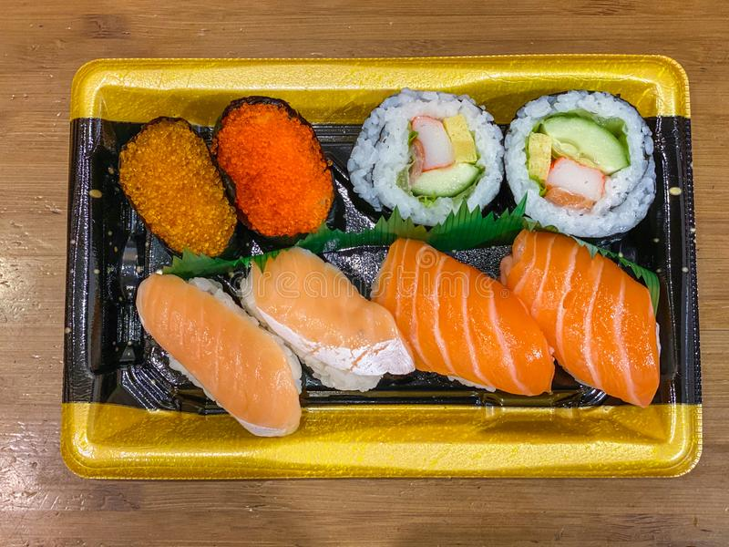 Assorted of delicious sushi and sashimi for lunch meal stock images
