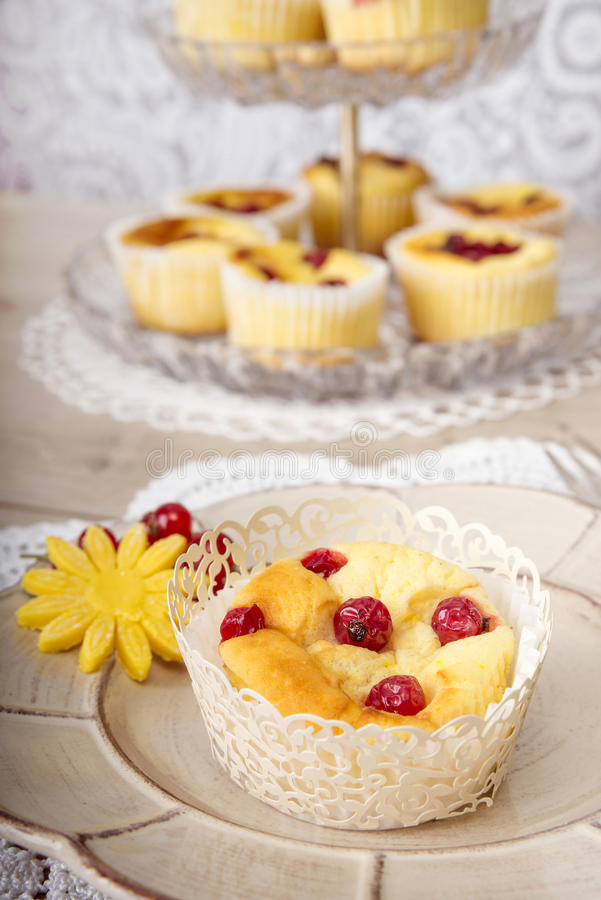 Assorted desserts and fruits royalty free stock photography