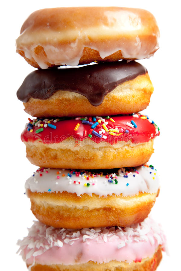 Assorted Donuts on white royalty free stock photo