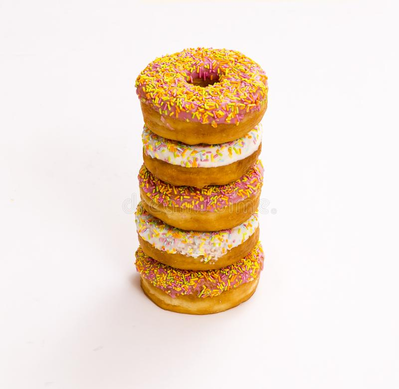 Assorted Donuts on white stock image