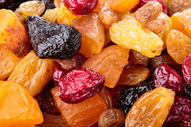 Assorted dried fruit and berries as a background royalty free stock photos