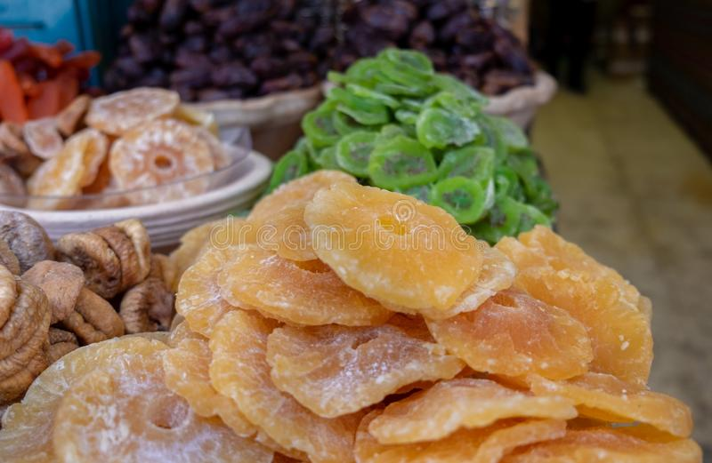 Assorted dried fruits for sale at Carmel Market, popular marketplace in Tel-Aviv royalty free stock photos