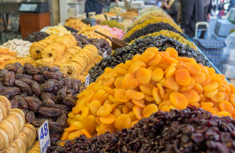 Assorted dried fruits for sale at Mahane Yehuda Market stock images