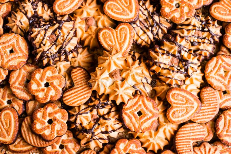 Assorted Easter cookies with cocoa, dark and white chocolate glaze and nuts royalty free stock photography