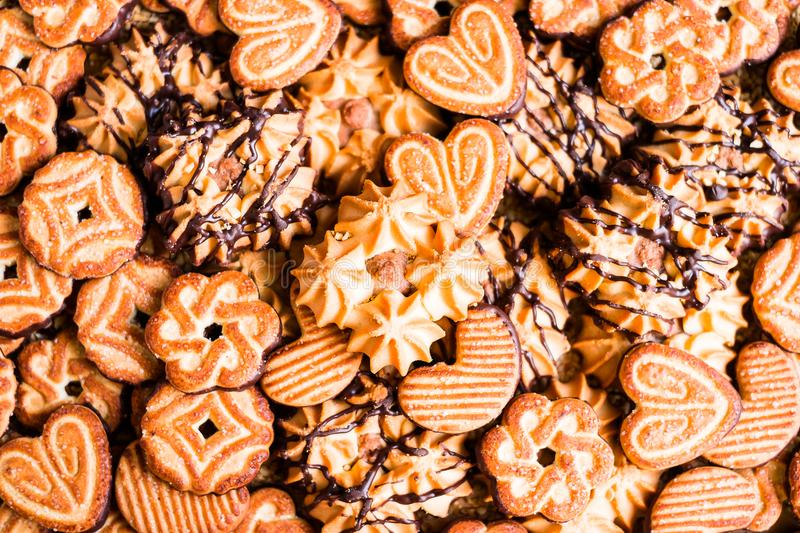 Assorted Easter cookies with cocoa, dark and white chocolate glaze and nuts stock photography
