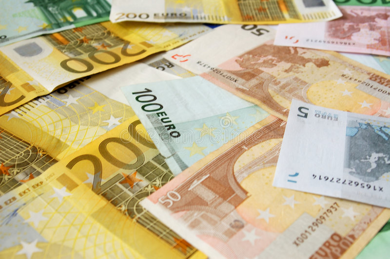 Assorted Euro Bills royalty free stock image