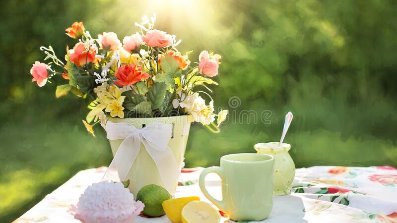 Assorted Flowers On Container Beside Mug On Table Free Public Domain Cc0 Image