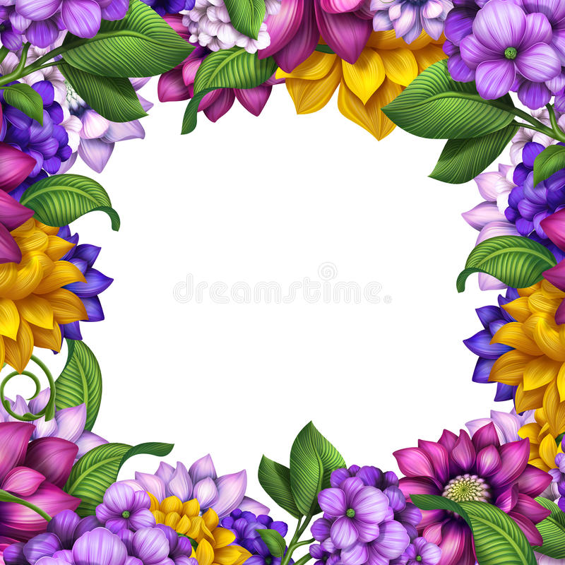 Assorted flowers frame isolated on white background stock illustration