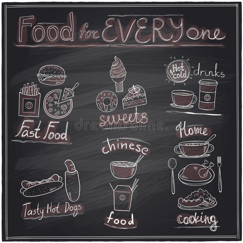 Assorted food and drinks graphic symbols chalkboard. Food for every one, hand drawn assorted food and drinks graphic symbols chalkboard design stock illustration