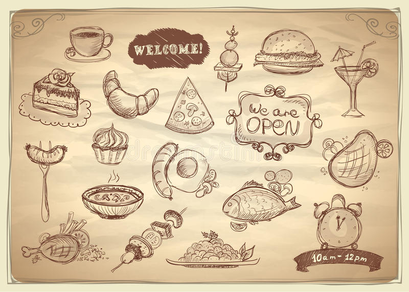 Assorted food and drinks graphic symbols. Assorted food and drinks hand drawn graphic symbols set vector illustration