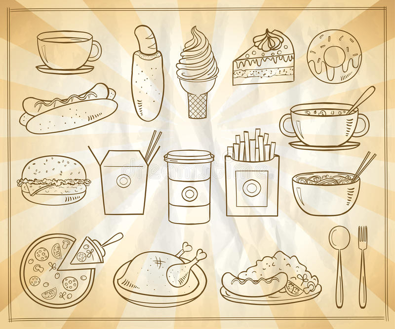 Assorted food and drinks graphic symbols set. Vintage style stock illustration