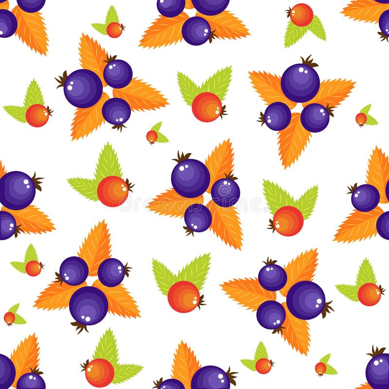 Assorted forest berries seamless pattern. Simple naive rustic style repeatable motif in red and violet colors for vector illustration