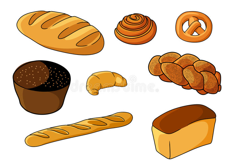 Assorted fresh cartoon bakery set stock illustration