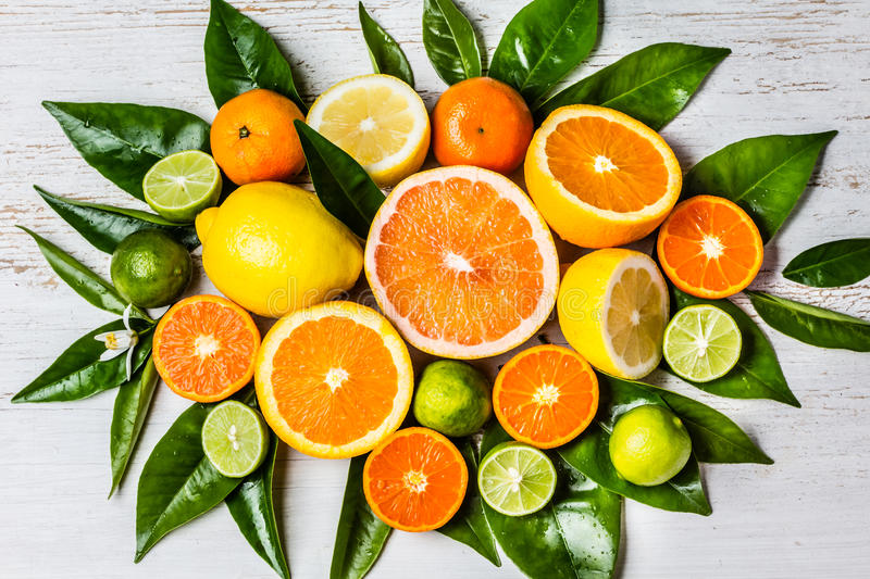 Assorted fresh citrus fruits with leaves. Background stock photo