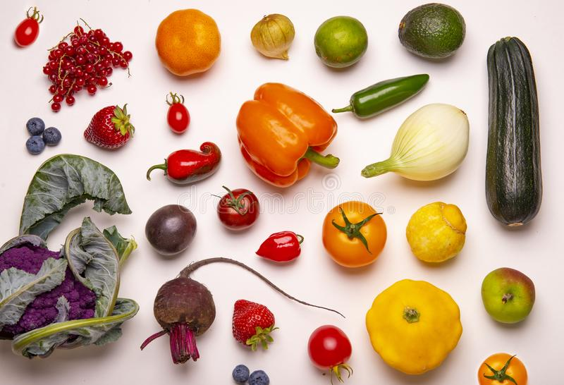 Assorted of colorful fresh fruits and vegetables isolated royalty free stock images