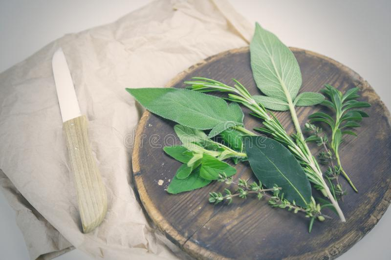 Assorted fresh Herbs de Provence on a board royalty free stock image
