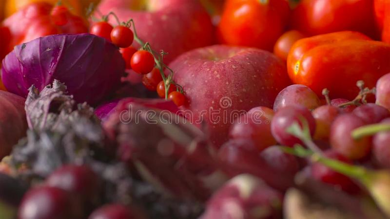 Assorted fresh ripe fruits and vegetables. Food concept background stock photo