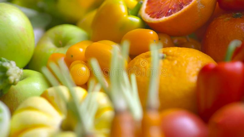 Assorted fresh ripe fruits and vegetables. Food concept background stock photos
