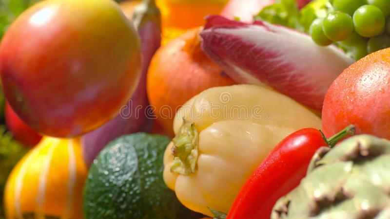 Assorted fresh ripe fruits and vegetables. Food concept background royalty free stock image