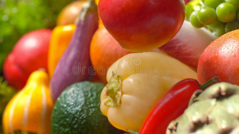 Assorted fresh ripe fruits and vegetables. Food concept background stock image