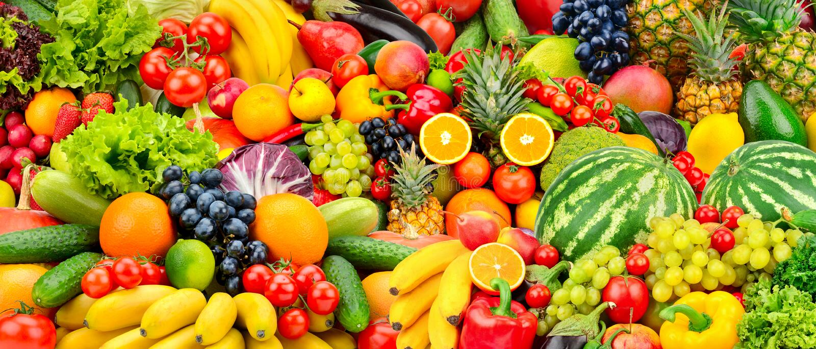 Assorted fresh ripe fruits and vegetables. Food concept background. royalty free stock images