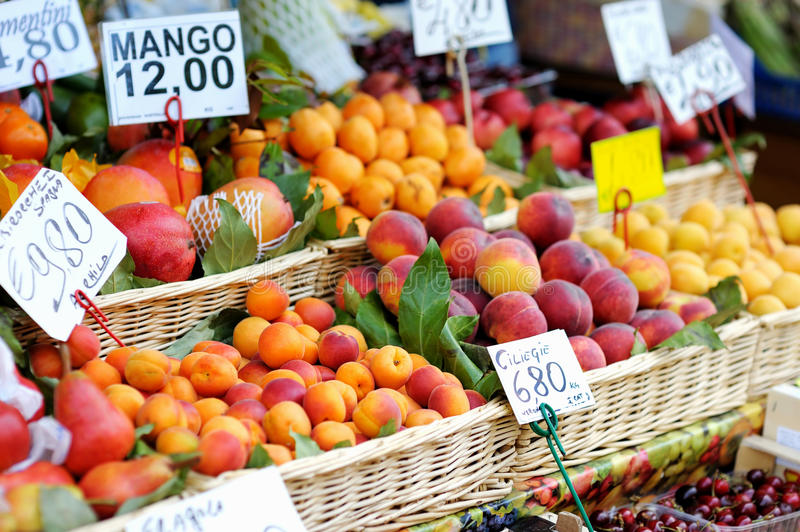Assorted fruits on a fruit market royalty free stock photography