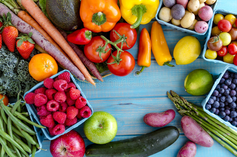 Assorted Fruits and Vegetables Background stock images