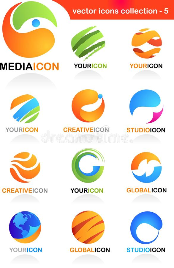 Assorted globe icons stock photos