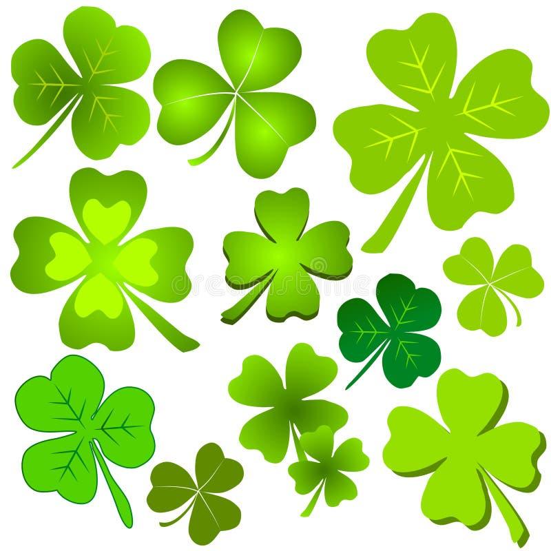 Assorted Green Clover Leaf Clip Art vector illustration