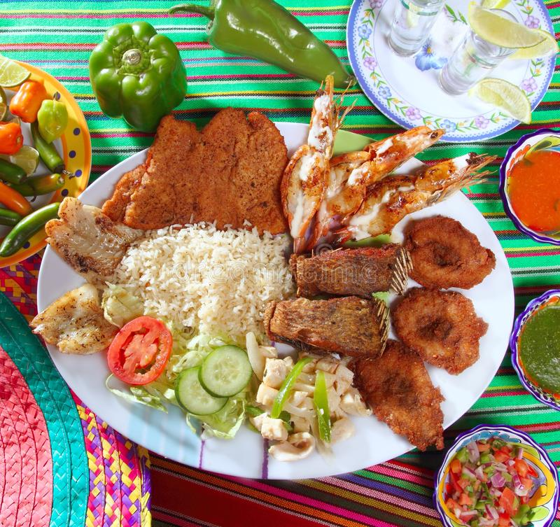 Assorted grilled seafood in Mexico tequila chili stock image