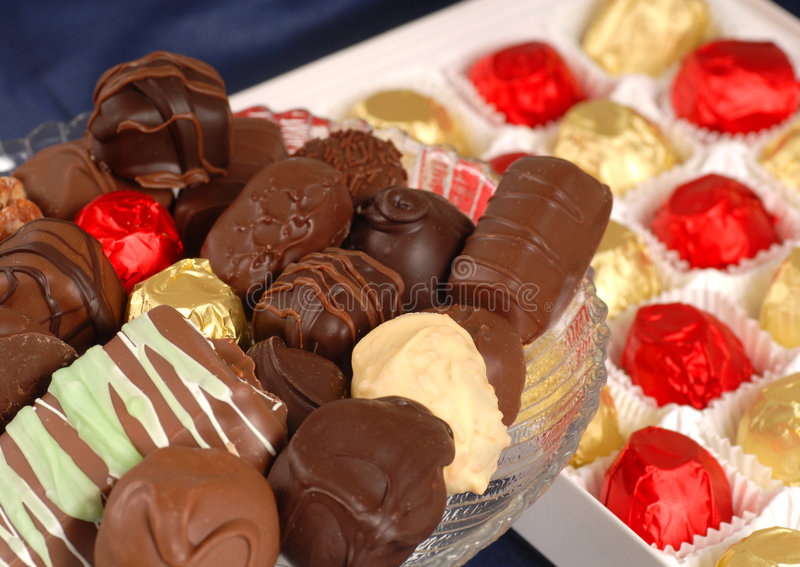 Assorted hand dipped chocolates royalty free stock image
