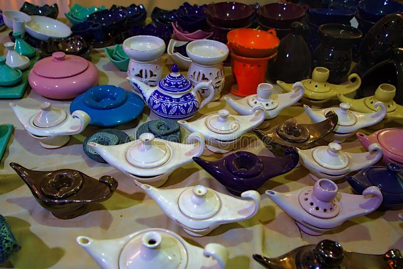 OIl lamps and pottery stock images