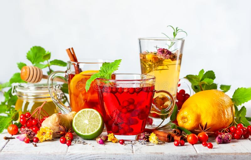 Assorted of healthy medical drinks. stock images