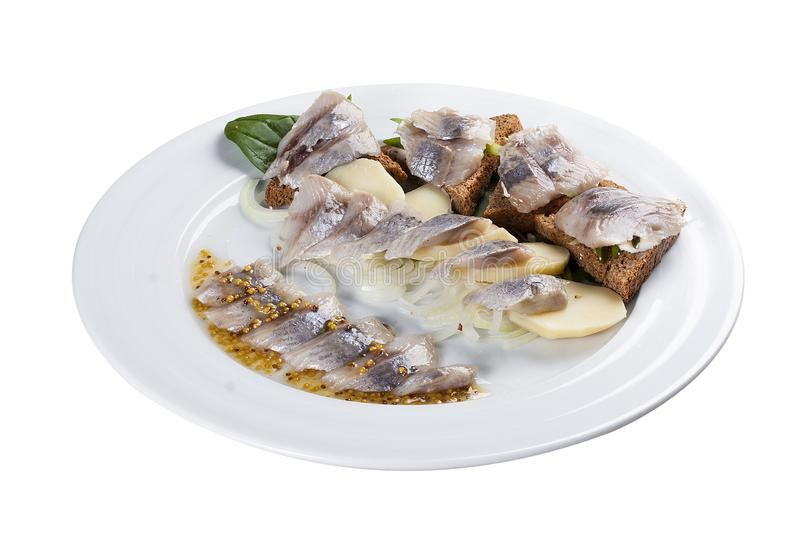 Assorted herring. A traditional Norwegian dish. stock image