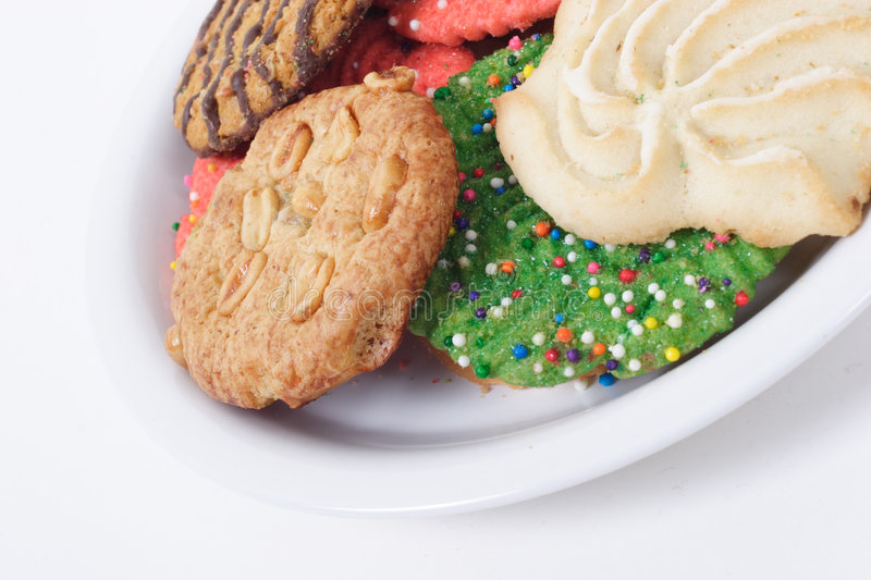 Assorted Holiday Cookies on Plate royalty free stock photo