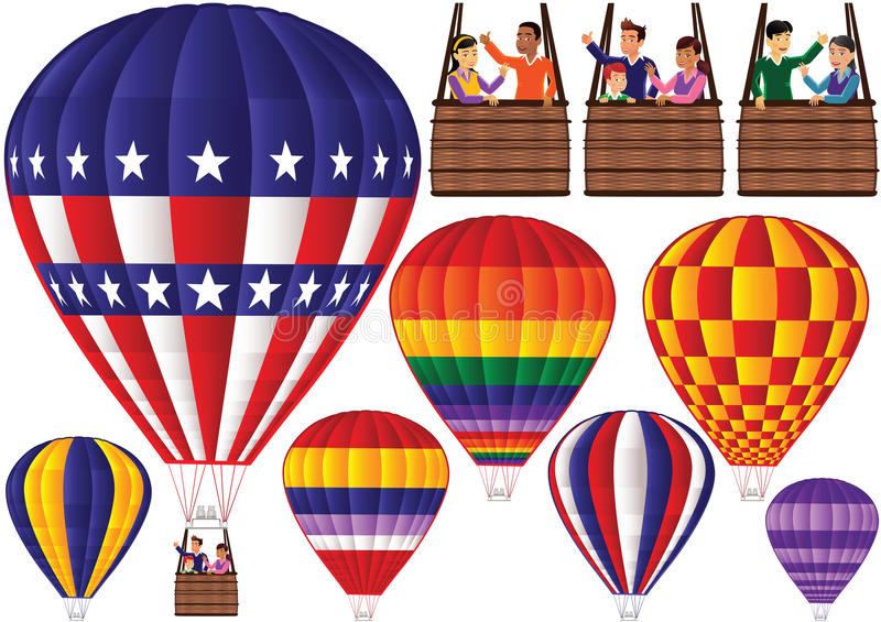Assorted hot air balloons and gondolas. An illustration of various air balloons plus gondolas. Gondolas can be scaled and matched to different air balloons using royalty free illustration