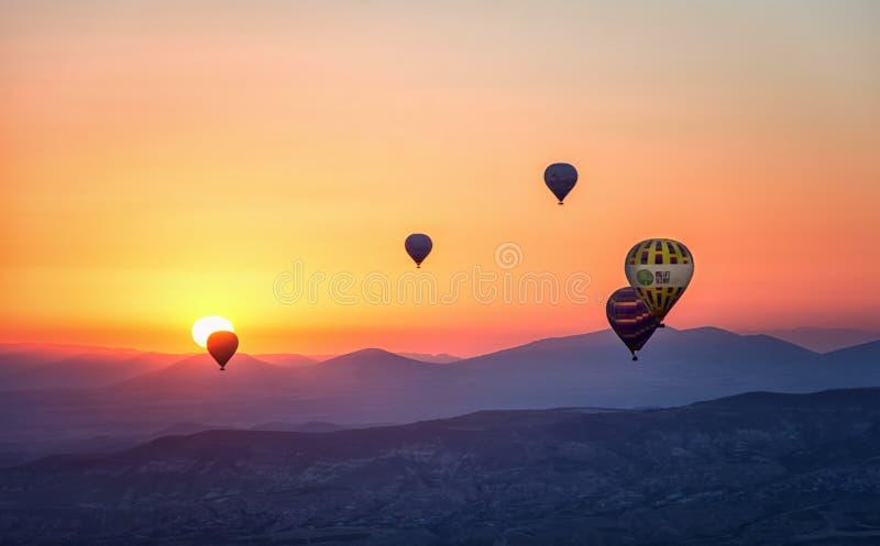 Assorted Hot Air Balloons Photo during Sunset stock photos
