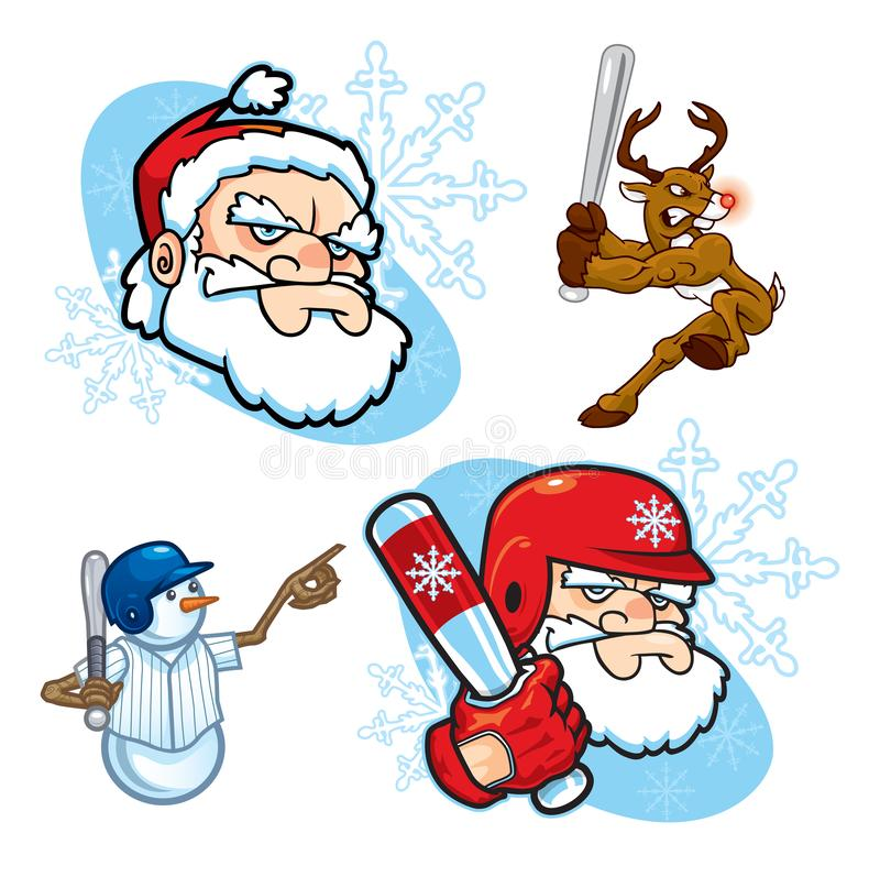Christmas Baseball Icons. Assorted icons of baseball or softball themed Holiday characters, including a snowman, a reindeer, and tough-looking Santa Claus, both vector illustration