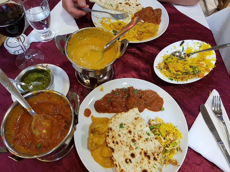 Assorted indian food stock photos